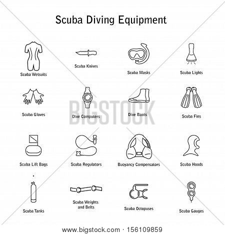 set of icons scuba diving equipment, in a modern style lines. 16 diving icons. Isolated element for website, advertisements. Isolated element for website, online store or shop. Vector illustration. eps10