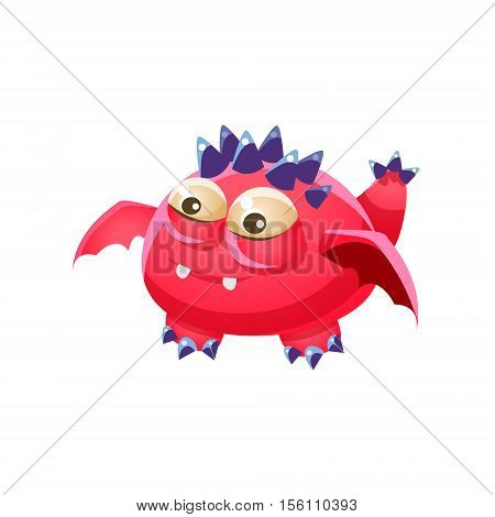 Pink Spiky Fantastic Friendly Pet Dragon Fantasy Imaginary Monster Collection. Colorful Imaginary Dragon Like Alien Creature From Another Planet.