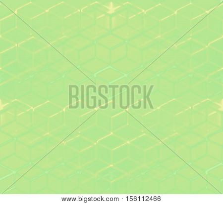 on a green and yellow background lined with yellow and green cubes lined tightly and blurry