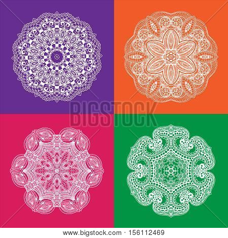 Set of White Mandala on the Color Backgrounds. Vector illustration. Can be used for fabrics, wallpapers, wrapping design, scrap-booking, web sites, flyers, invitation