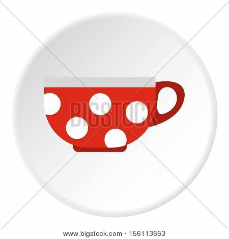 Red mug with white polka dots icon. Flat illustration of red mug with white polka dots vector icon for web