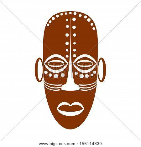African Ethnic Tribal mask on white background. Flat icons. Ritual symbols. Vector illustration eps10