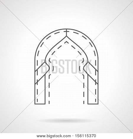 Architectural arch in traditional oriental style. Door and entrance decorations in building. Historical constructions. Flat black line vector icon.