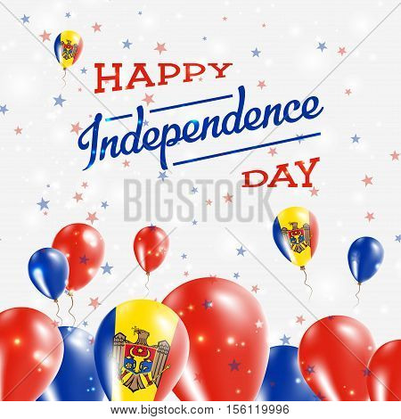 Moldova, Republic Of Independence Day Patriotic Design. Balloons In National Colors Of The Country.