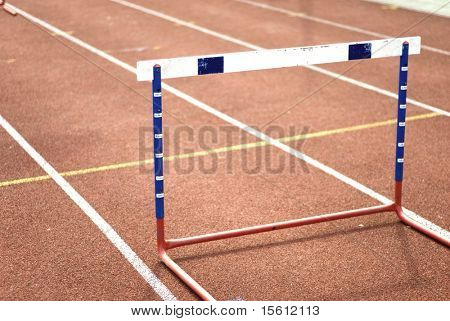 single hurdle on a sports-ground