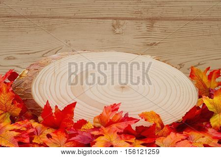 Autumn Time Background Some fall leaves with cut wood plaque on weathered wood with copy space for your message