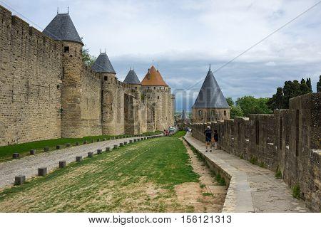 Medieval castle of Carcassonne Languedoc - Roussillon province France