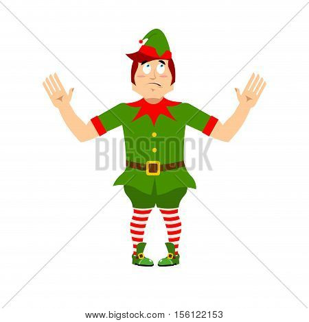 Surprised Christmas Elf Raised His Hands To Sides. Discouraged Assistant Of Santa Claus. Wonderl At