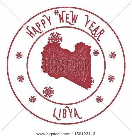 Retro Happy New Year Libya Stamp. Stylised Rubber Stamp With County Map And Happy New Year Text, Vec