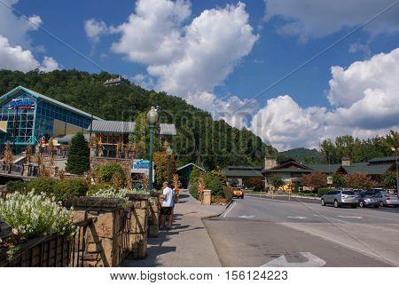 Gatlinburg Tennessee USA - October 1 2014: Downtown of the small town of Gatlinburg and Smoky Mountains landscapes around it - the highlights of traveling in Tennessee USA