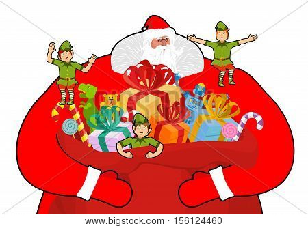 Santa Claus With Big Sack Of Gifts.  Christmas Elf Helpers. Red Bag With Toys And Sweets. Character