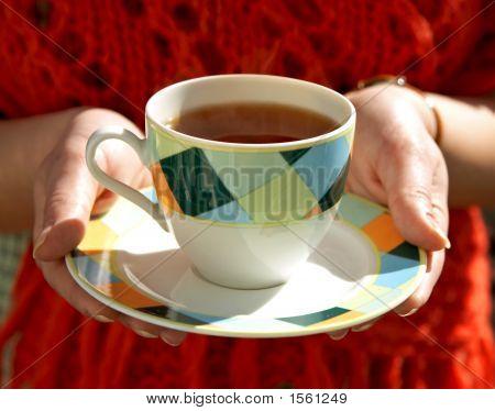 Cup Of Tea In Hands Of Woman