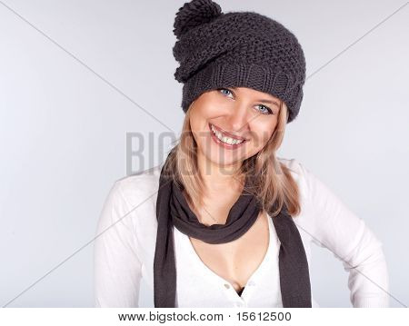 Portrait Of A Stylish Girl In Winter Wool Hat