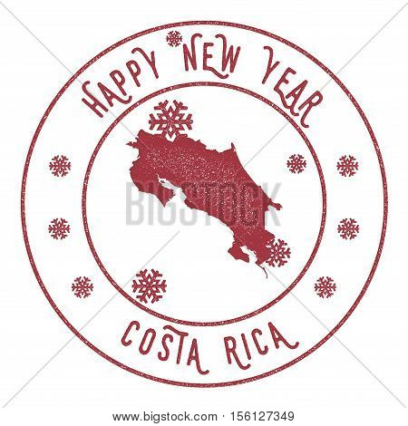 Retro Happy New Year Costa Rica Stamp Stylised Rubber Stamp With - County map of costa rica