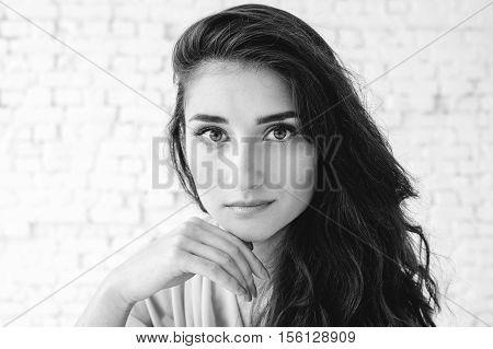 Beautiful Brunette Woman Portrait. Natural Makeup.  Black And White.
