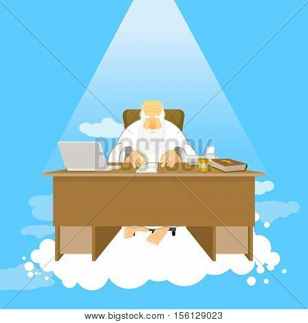 Boss Of Paradise. God Job. Almighty Of Work Place In Heaven. Grandfather With Beard At Work. Holy Of