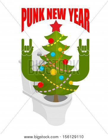 Punk New Year. Decorated Fir Stands In Toilet Bowl. Unfriendly Behavior. Antisocial Freak Holiday