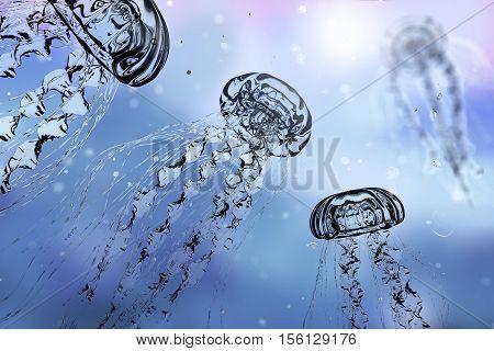 Jellyfishes in water, 3D illustration. Underwater background