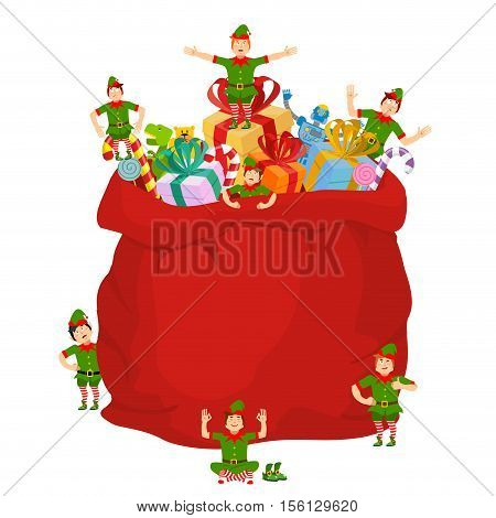 Bag Santa With Gifts And Christmas Elves. Red Sack With Toys And Sweets For Children. Elf Little San