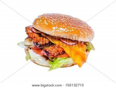 Tasty grilled homemade hamburger with beef spare ribs barbecued, fresh vegetables, mayonnaise, spices on white background, isolated. Fast food take away concept. Classic american burger.