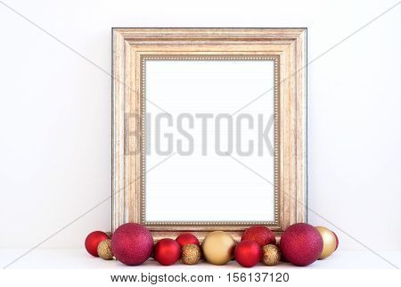 Christmas styled mockup portrait frame with red and gold baubles overlay your business message promotion headline or design great for lifestyle bloggers and social media campaigns