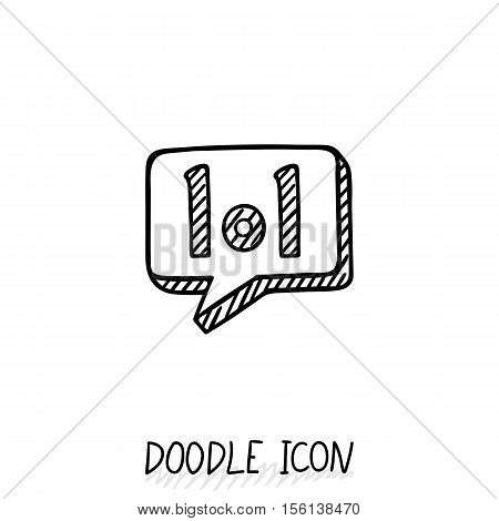 Doodle chatting icon. Text bubble. Cloud for messages, posts, sms.