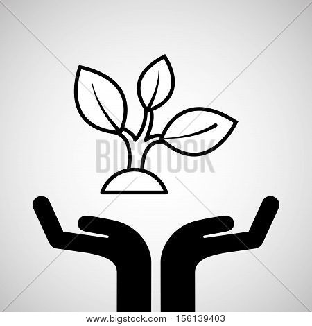 silhouette hands environmentally friendly plant vector illustration eps 10