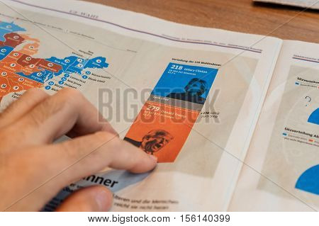 PARIS FRANCE - NOV 10 2016: Selecting Donald Trump - Man reading Frankfurter Allgemeine Zeitung newspapper with Donald Trump elected as President as the 45th President of United States of America