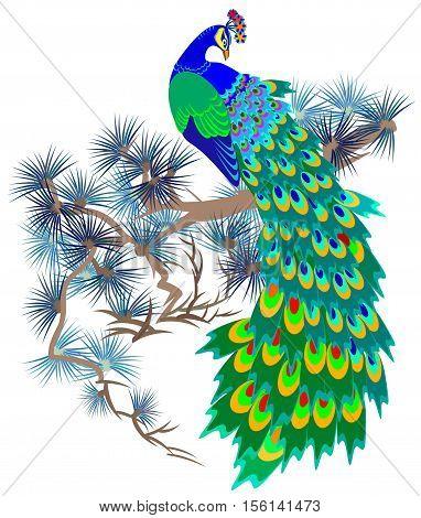 Illustration of fairyland bird sitting on a branch of pine, vector cartoon image.