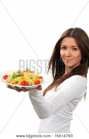 Woman Hold Diet Italian Shrimp Spaghetti Vongole Pasta