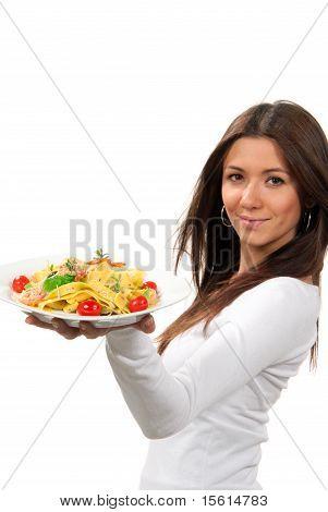 Woman Hold Diet Italian Shrimp Spaghetti Vongole Pasta