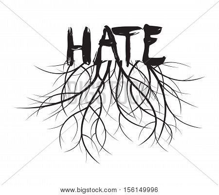 Hate and Roots. Vector Illustration and graphic design.