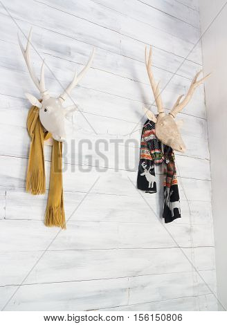 Deer head decorative in home interior stock photo