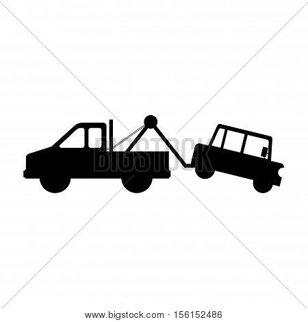 silhouette of tow truck with car icon over white background. vector illustration