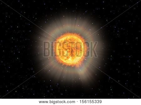 Bright glowing star with protuberances in space, like the sun or other. Symbolic 3D rendering.