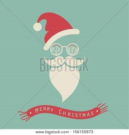 The cover design. The depicts Santa Claus in a red cap and glasses with numbers 2, 0,1,7. The phrase merry christmas on the background of the red scarf.