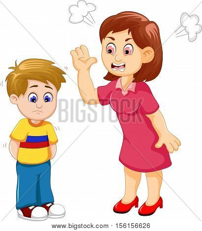 cartoon Mather scolding her son for you design