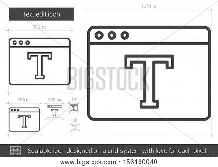 Text edit vector line icon isolated on white background. Text edit line icon for infographic, website or app. Scalable icon designed on a grid system.