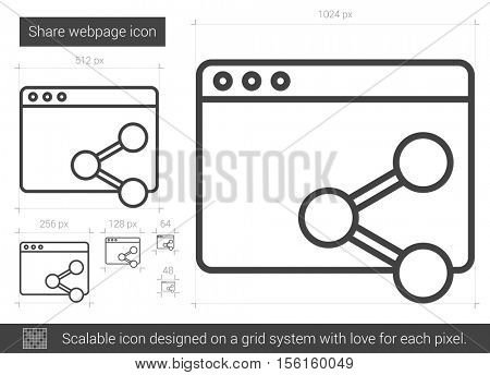 Share webpage vector line icon isolated on white background. Share webpage line icon for infographic, website or app. Scalable icon designed on a grid system.