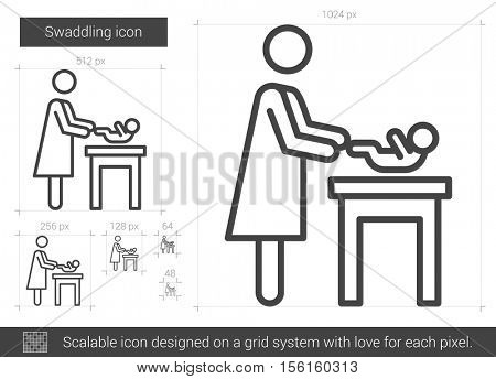 Swaddling vector line icon isolated on white background. Swaddling line icon for infographic, website or app. Scalable icon designed on a grid system.