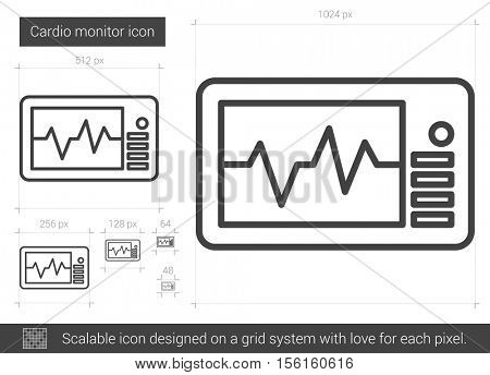 Cardio monitor vector line icon isolated on white background. Cardio monitor line icon for infographic, website or app. Scalable icon designed on a grid system.