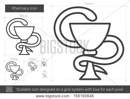Pharmacy vector line icon isolated on white background. Pharmacy line icon for infographic, website or app. Scalable icon designed on a grid system.