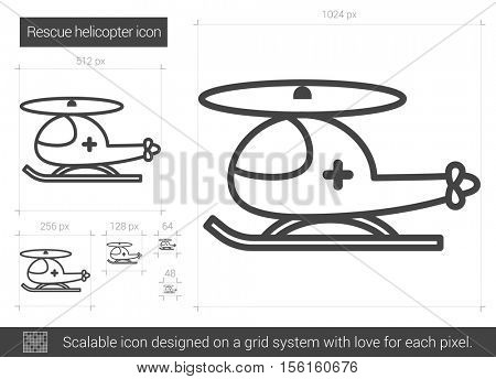 Rescue helicopter vector line icon isolated on white background. Rescue helicopter line icon for infographic, website or app. Scalable icon designed on a grid system.