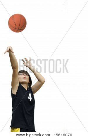 Asian teen girl throw basketball