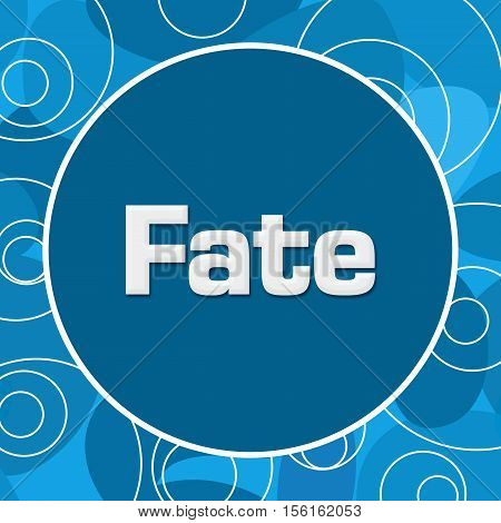 Fate text written over abstract blue background.