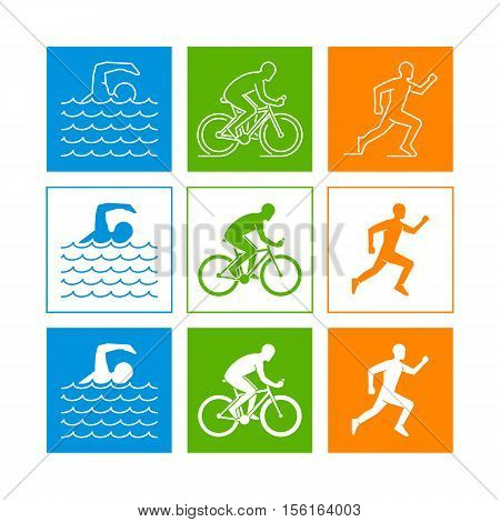 Flat logo triathlon. Vector figures triathletes on a white background. Swimming cycling and running symbol.