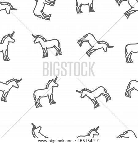 Vector line unicorn pattern on white background.
