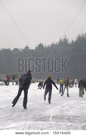 skating at natural ice in winter