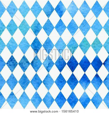 Oktoberfest Bavarian Watercolor Aquarelle Traditional Blue White Beautiful Background Pattern. Bavar