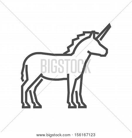 Vector line figure unicorn icon. Linear vector symbol